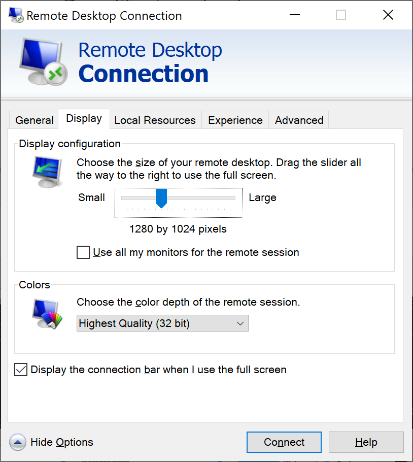 Windows Remote Desktop Connection Display settings